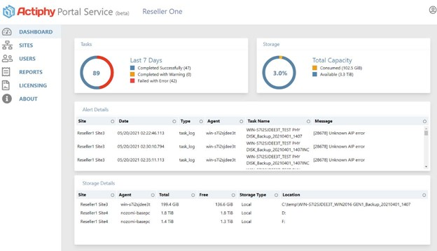 Actiphy Portal Service dashboard